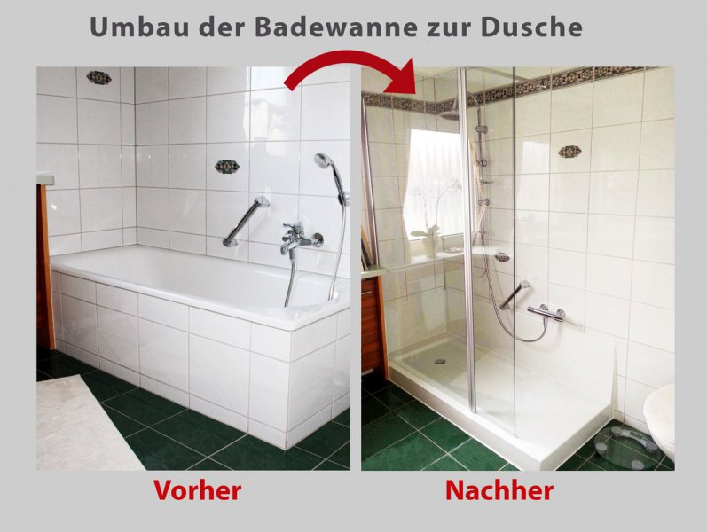 umbau der badewanne mit dem patent wanne zur dusche in 8 std. Black Bedroom Furniture Sets. Home Design Ideas